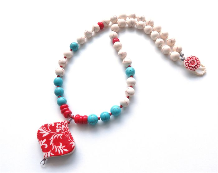 Red valentine ceramic pendant turquoise blue and red coral necklace