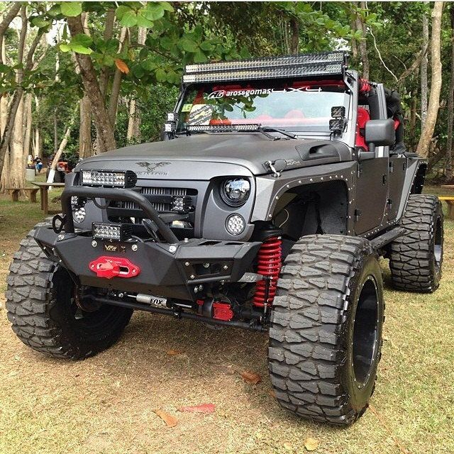 Custom Jeep Wrangler lifted and kitted out.