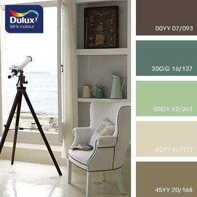 Располагающая, приятная и милая композиция. Неброские,спокойные оттенки создают атмосферу уюта и расслабления.Оттенки коричневого и светло-кирпичный прекрасносочетаются с серо-голубым и приглушенно-изумрудным.Такие натуральные, естественные краски идеально подходятдля оформления домашнего интерьера.