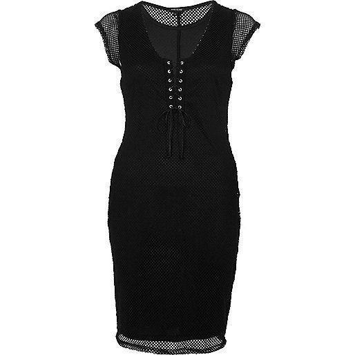 Black mesh corset front dress