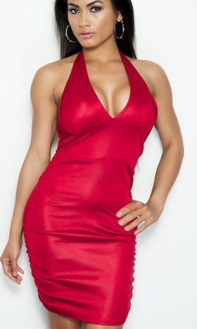 'DALLAS' RED HALTER CORSET DRESS