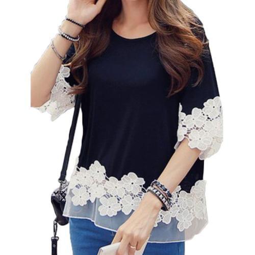 Women Casual Loose Flower Long Sleeve O Neck Blouse Shirt Tee