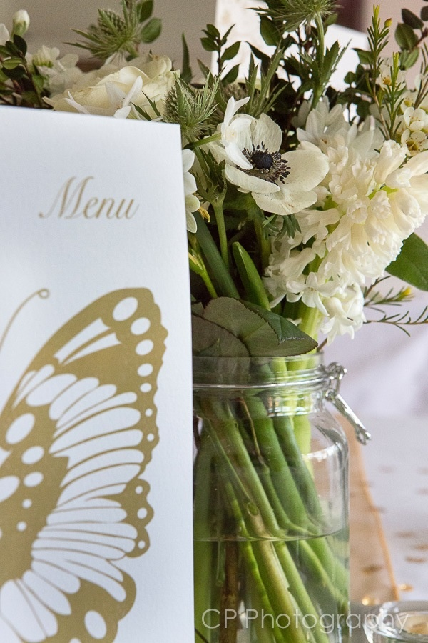 Gold butterfly wedding collection, co-ordinating menu looks great on tables for extra decoration as well as informative for your guests.  By www.fuschiadesigns.co.uk