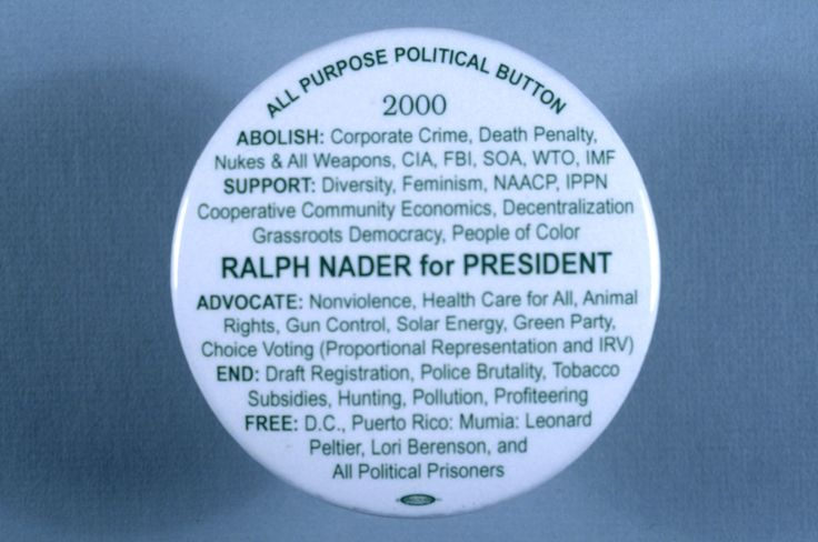 Campaign button for Ralph Nader, who ran as the Green Party's candidate in the 2000 presidential elections. (Photo by David J. & Janice L. Frent/Corbis via Getty Images)