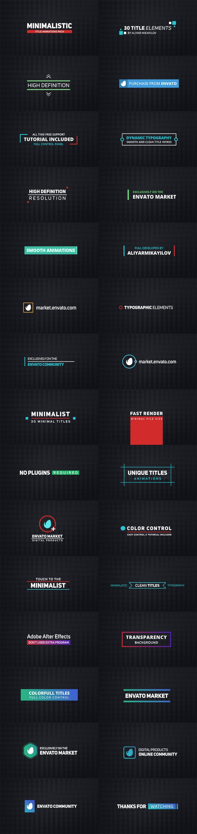 30 Title Animations All are UNIQUE! 100% After Effects (Text and Shapes) Full HD Resolutions (upgrade any size) Adobe After Effetcs CS5.5 and above Tutorial Included! Text/Logo, color, size and d...