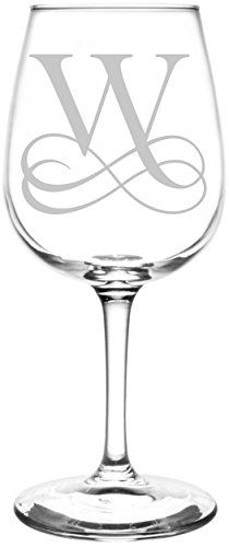 Monogrammed W | Vintage Double Infinity Symbol Wedding Monogram Inspired - Laser Engraved Libbey Wine Glass.  Full Personalization available!  Fast Free Shipping & 100% Satisfaction Guaranteed.  The Perfect Gift!