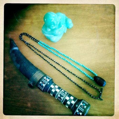 """Black Beatle"" Necklace  Black scarab pendant, turquoise, black onyx, black/gold spinelios"