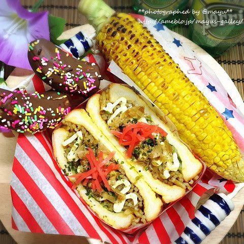 広島焼き風サンドイッチ~夏祭りバージョン~ |mayu's galley