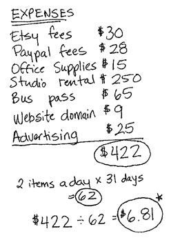 For anyone that is having trouble selling their stuff on Etsy or anywhere really ... rethink your pricing!! I personally don't sell anything online (although I'm thinking about it!) but I found this to be a super-helpful page for the first step in it all: Pricing Your Stuff Online.