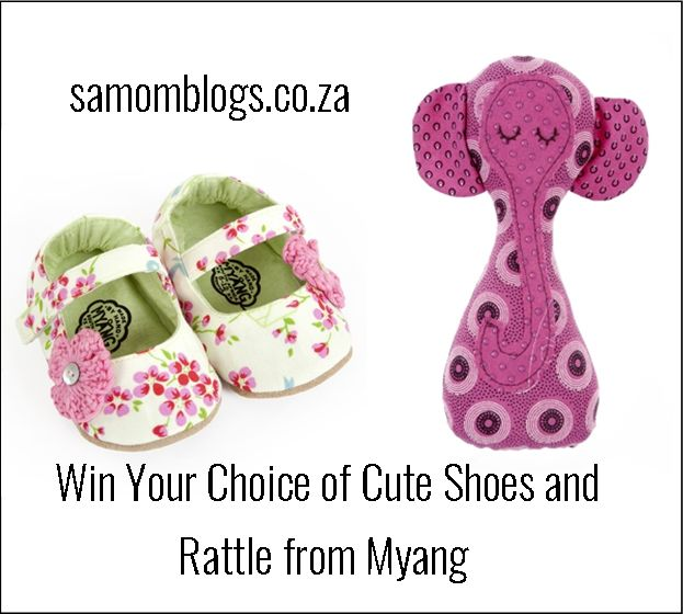 We are giving away the cutest little shoes (for under two's) and an adorable rattle from Myang. You will be able to choose your from their website.