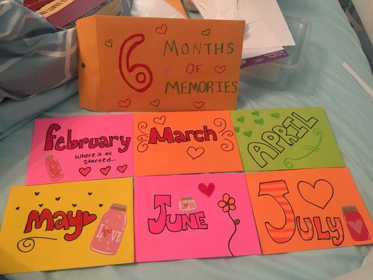 Tomorrow will be my sixth month anniversary with my boyfriend! I actually got this idea from Pinterest. Inside are pictures from that month and a little note about that month. Overall really cute and I hope he likes it!