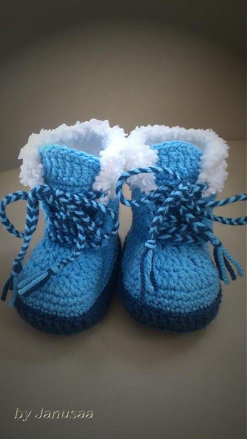 Háčkované čižmičky - s kožušinkou by Janusaa - SAShE.sk - Handmade Topánočky