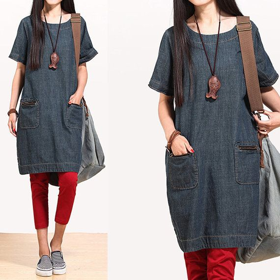 Blue jeans casual cotton polo dress garden / loose by dreamyil, $99.00