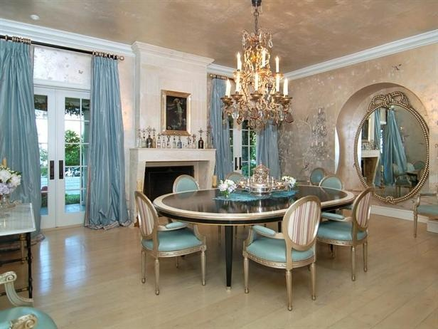 Tour Ozzy and Sharon Osbourne's California Home: Dining Area, Decor Ideas, Sharon Osbourne, French Doors, California Home, Living Room, Dining Rooms Tables, Dining Rooms Design, Elegant Dining