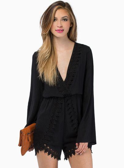 Black V Neck Long Sleeve Floral Crochet Jumpsuit