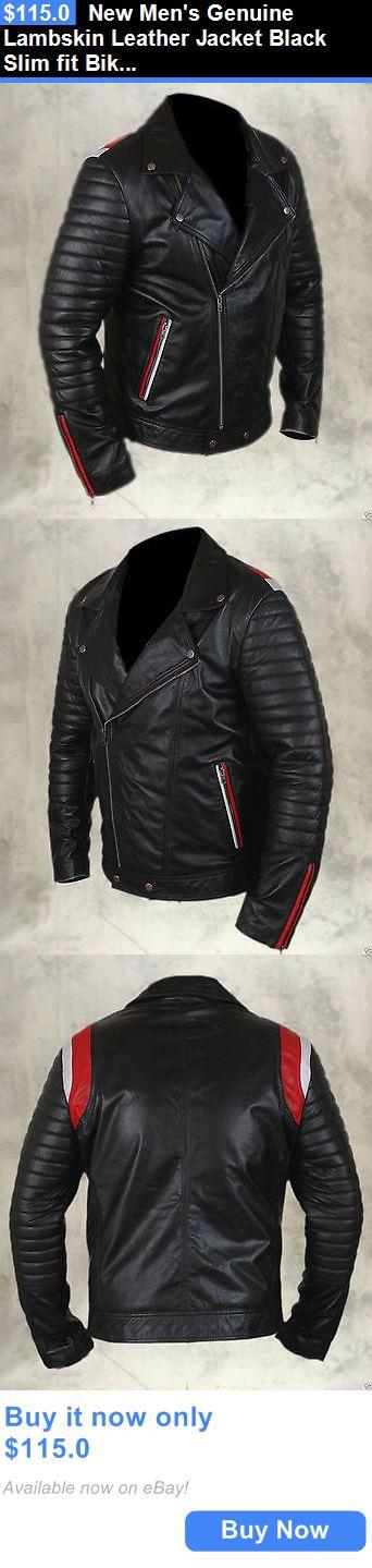 Men Coats And Jackets: New Mens Genuine Lambskin Leather Jacket Black Slim Fit Biker Motorcycle Jacket BUY IT NOW ONLY: $115.0