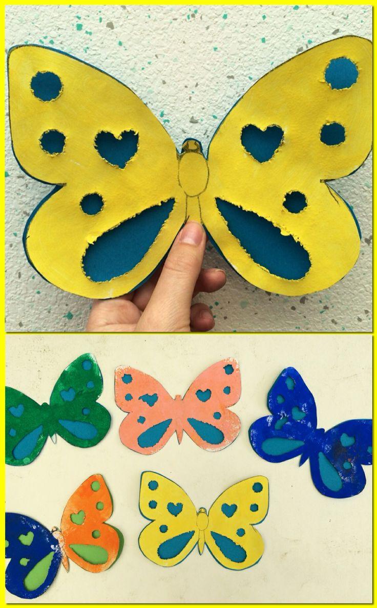 Vlinder: Figuurtjes laten uitprikken, stempelen met spons en verf, gekleurd papier achter kleven