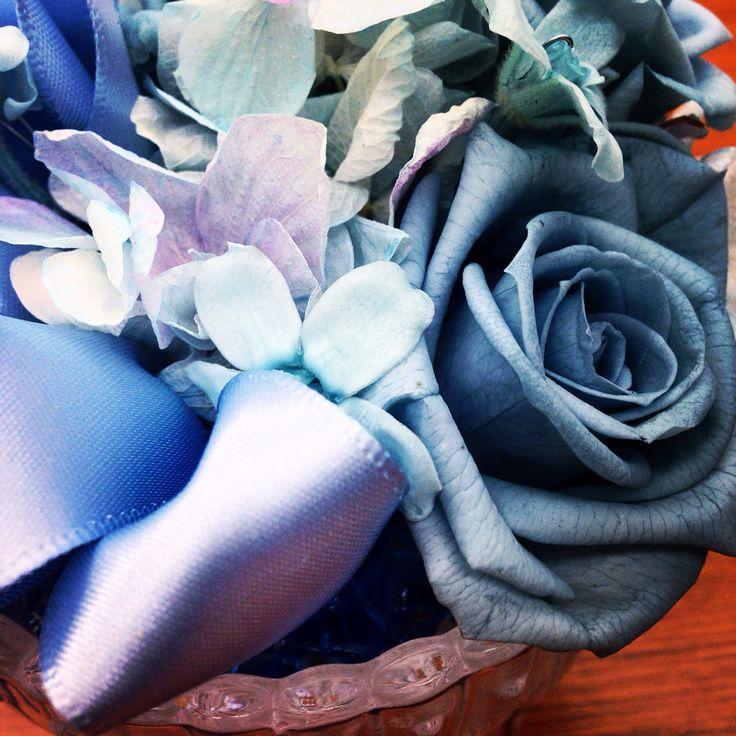 #preserved flower #Blue #summer #ribbon