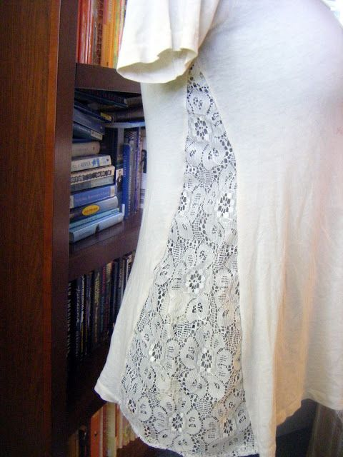 DIY T-Shirt Revamp with Lace, doing this w/ a night shirt, leaving a gap dear underarm to help with nursing down the road.