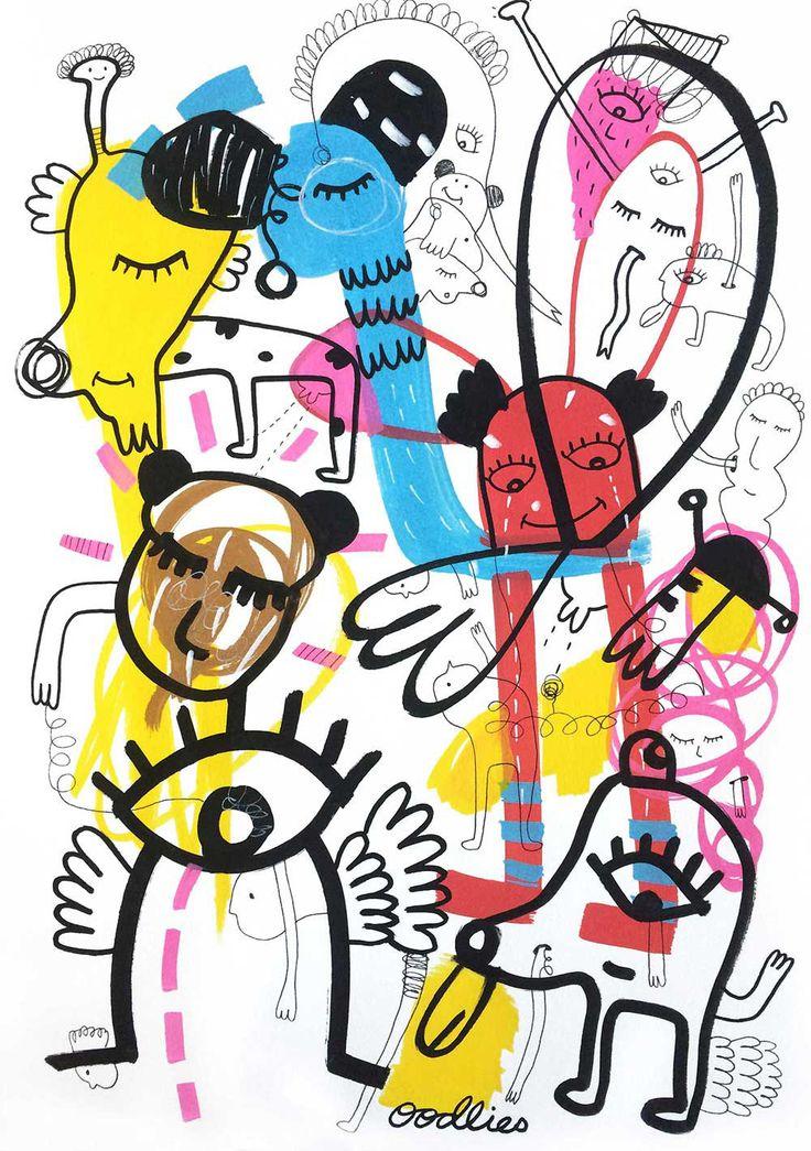 Everybody Needs Somebody Sometime   Oodlies Abstract Art Australia by Joi Murugavell