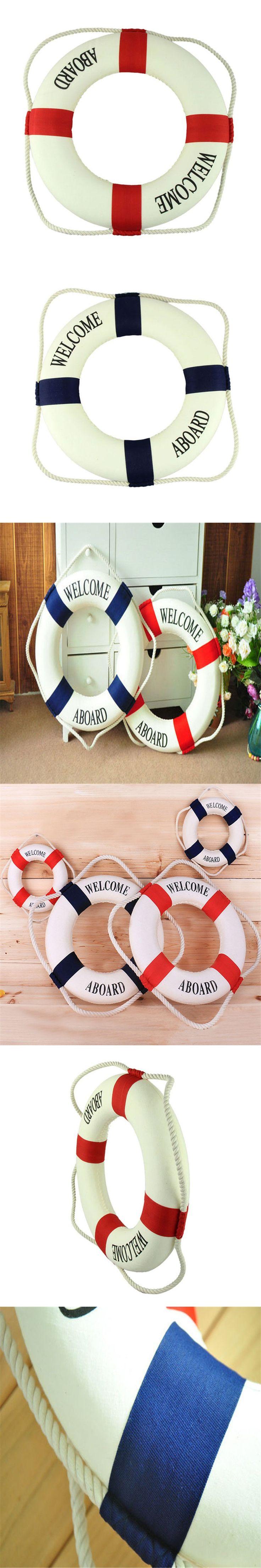 Welcome aboard boat ships life ring clock - Zero 35cm Lifebuoy Preserver Nautical Ship Boat Marine Theme Home Wall Decor