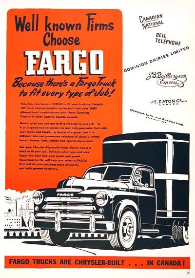 1949 Fargo Semi Trailer Trucks vintage ad. Well known firms choose Fargo. Because there's a Fargo Truck to fit every type of job. Capacity from 4200 to 16,500 lbs. with 3, 4, or 5 speed transmissions.