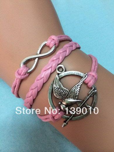 Старинное серебро голод игры птица бесконечности манжеты подвески браслеты браслеты персонализировать розовая кожа веревка женщин мужчины