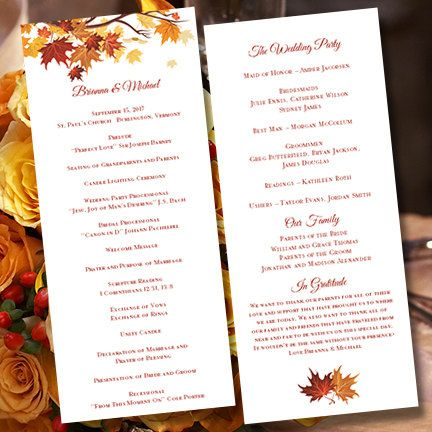 Professionally designed printable DIY fall or autumn themed wedding program template is an instant download. Your files will be sent to you