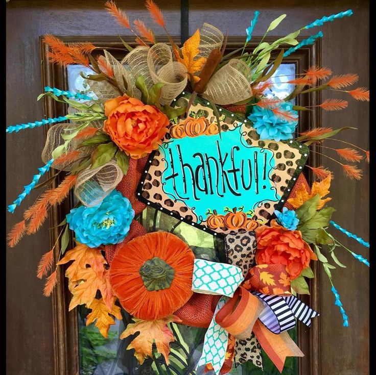 thankful fall thanksgiving wreath www facebook com southernsass