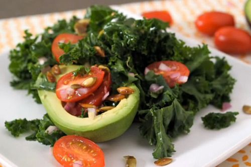 Avocado With Roasted Pumpkin Seeds and Kale Salad Your pallet will thank you =)