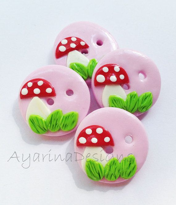 Mushroom Buttons polymer clay handmade craft buttons  by ayarina, $7.25
