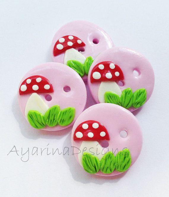 Mushroom Buttons polymer clay handmade craft buttons  by ayarina, $7.25