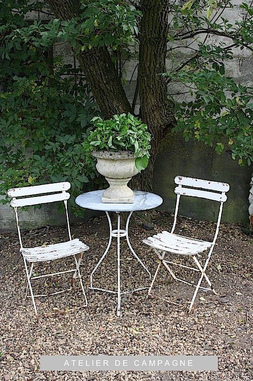 #20/027 Bistro Chairs shabby chic cottage cabin garden decor