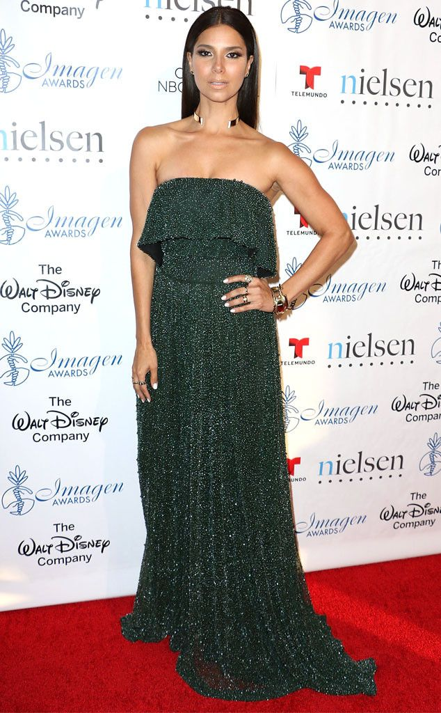 Roselyn Sanchez from The Best of the Red Carpet  This sparkling Katharine Kidd design turns forest green into a glamorous shade.