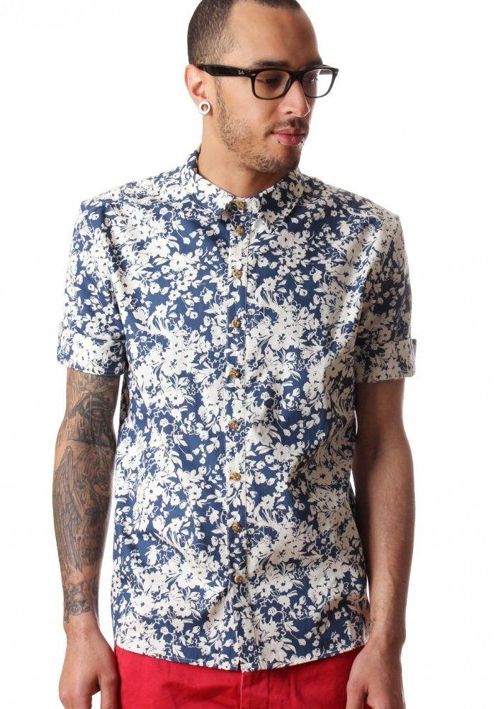 Villain Usher Men 39 S Short Sleeve Shirt Ocean Floral