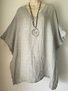 Quirky-Lagenlook-Linen-V-neck-Smock-Tunic-top-O-S-14-18-Silver