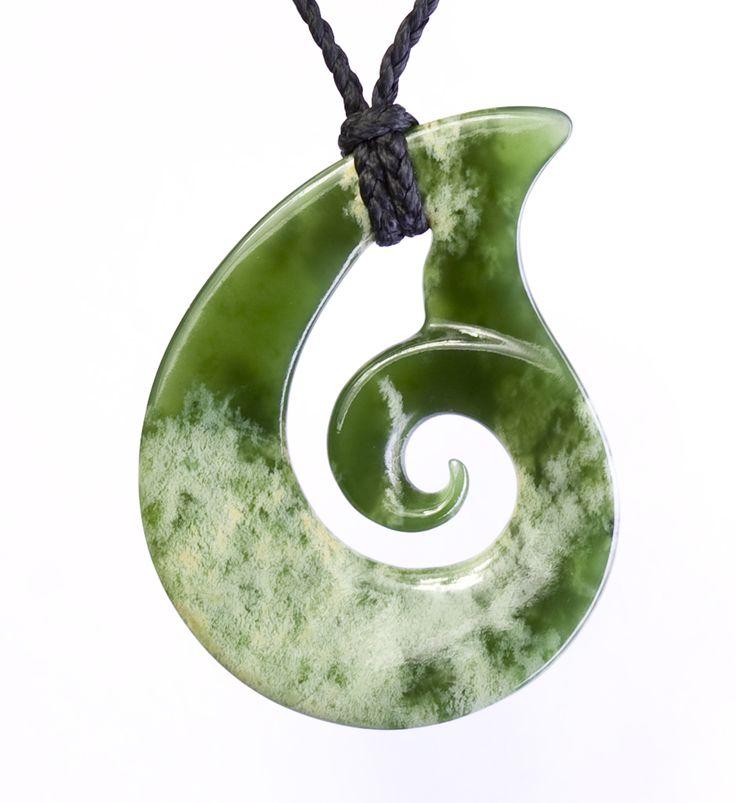 Polished New Zealand Green Jade Teardrop/Koru Necklace : Mountain Jade New Zealand