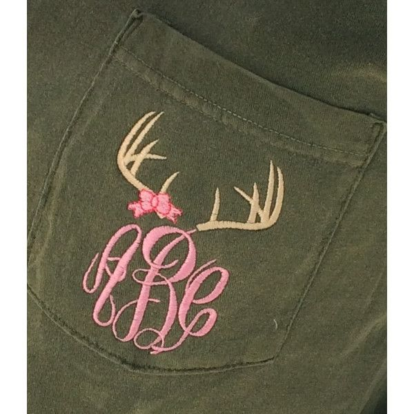 Monogrammed Deer Antler Bow Short Sleeve Pocket Tee Font Shown Master... ($24) ❤ liked on Polyvore featuring tops, t-shirts, dark olive, women's clothing, olive t shirt, t shirts, pocket t shirts, short sleeve tees and monogram pocket tee