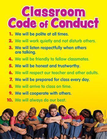 Classroom Code of Conduct Chart by Teachers Friend