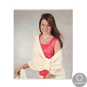 """Bow Ponchette"" Knitted Ladies' Poncho Pattern by TLC - FREE Knitting Pattern - Planet Purl"