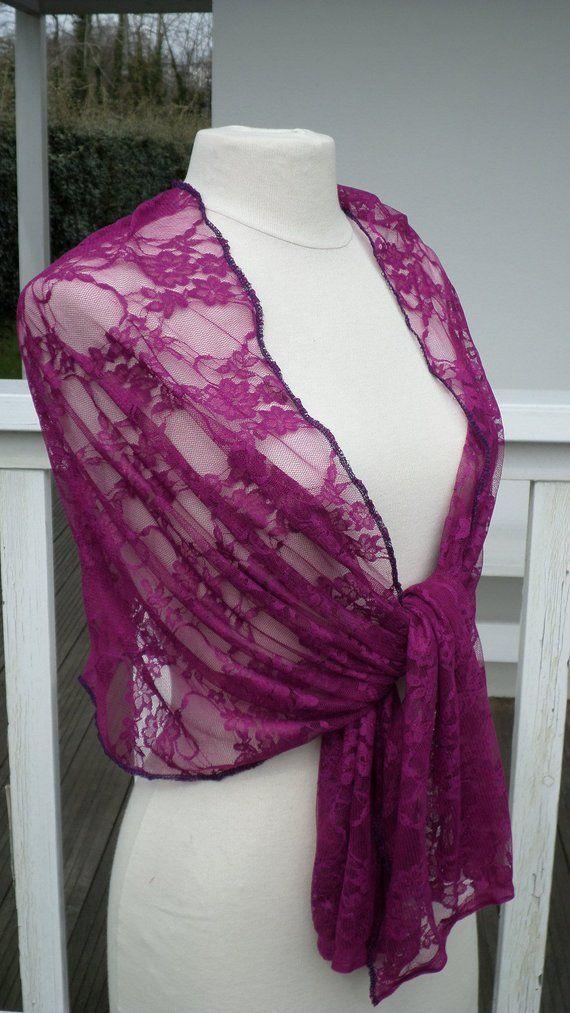 Etole écharpe foulard châle pour femme en dentelle violine   agréable pour  mariage lin eva création nouvelle collection printemps été a5272f7f5e6