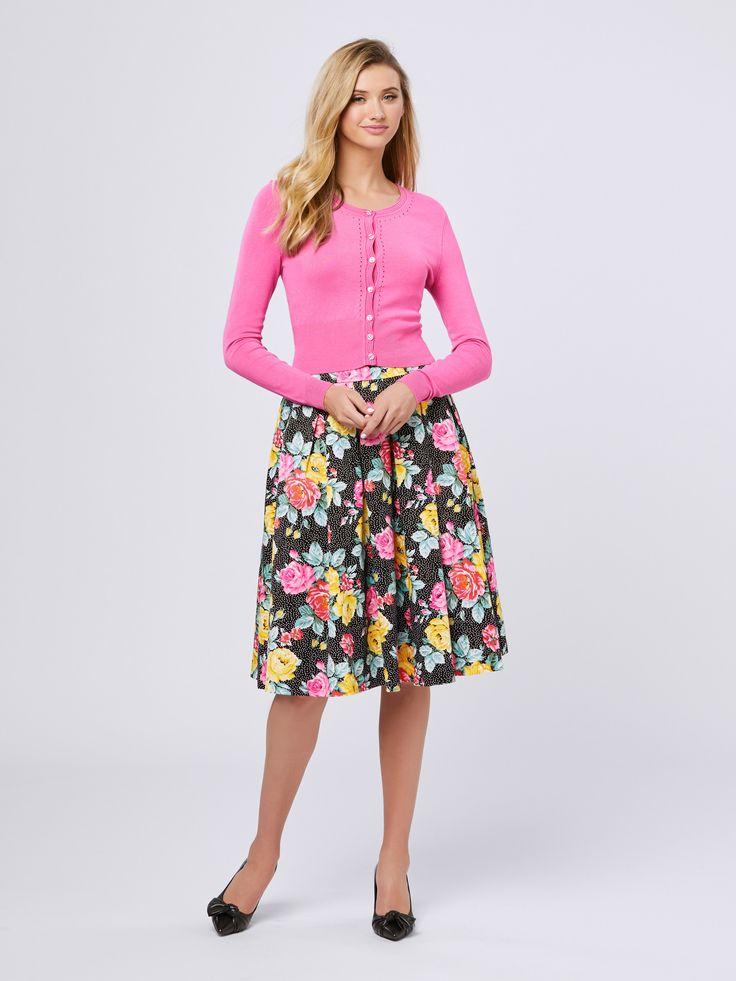 Maggie Long Sleeve Cardi   Hot Pink   Cardigan