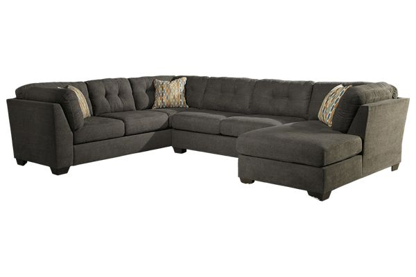 64W X 385D 36H Ashley Furniture Delta City Gray Sectional With Oversized Ottoman