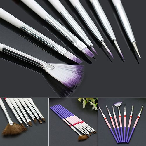Brand New 7Pcs Drawing Painting Dotting DIY Brushes Acrylic Tips Liner Nail Art Pens Set  8EZI