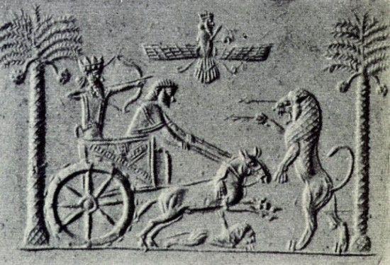 Darius salutes (Ancient Persian Aryan Slaute) Ahura Mazda at Mountain of The Gods, Bistun.