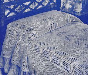 Vintage Crochet Pattern to Make Filet Bedspread Arrow Rose Filet ...