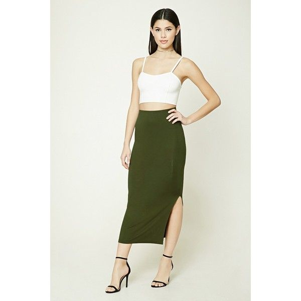 Forever21 Bodycon Slit Maxi Skirt ($9.90) ❤ liked on Polyvore featuring skirts, olive, long slit skirt, side slit maxi skirt, forever 21 maxi skirt, slit skirt and olive green maxi skirt