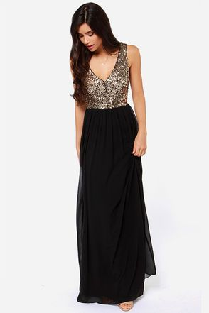 Sequin Dress - Black Dress - Maxi Dress - $88.00