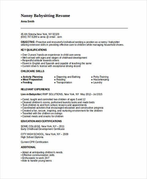 All Things You Should Know About Nanny Resume Babysitter Resume Sample Resume Templates Babysitter Jobs