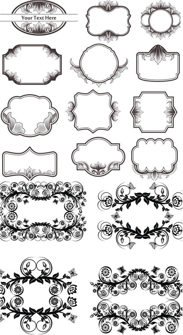 Vintage floral frames ornate elements vector | Arts & Crafts | Pinterest